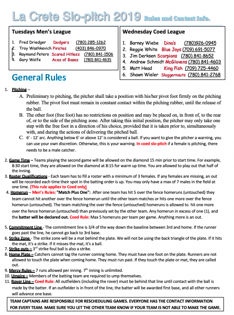 SLo pitch 2019 final rules