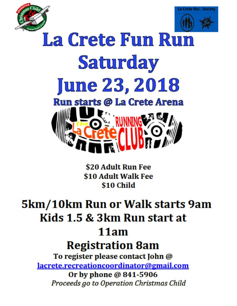 La Crete Fun Run june 23 2018 poster