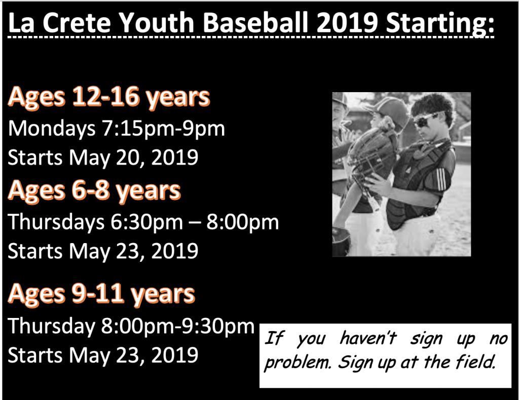 Youth baseball start up days 2019