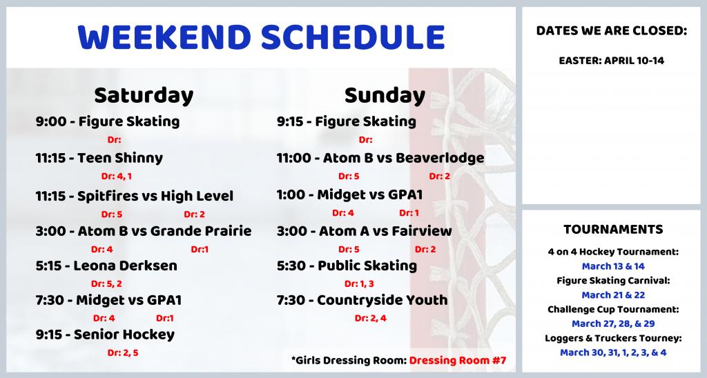 Weekend Schedule for Dressing Room TV (9)