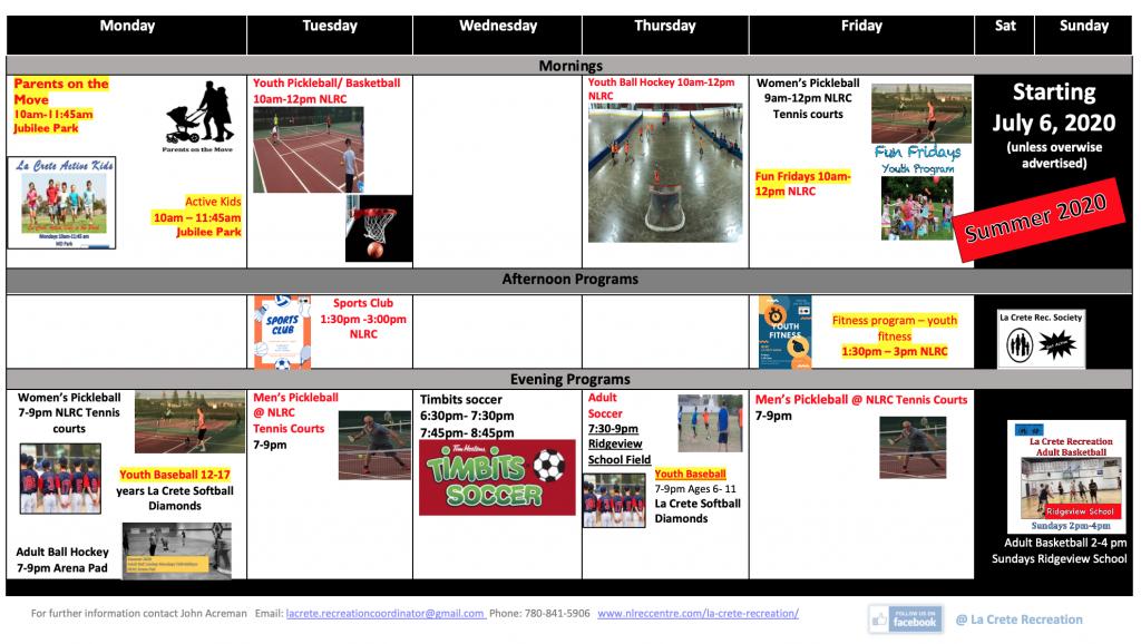 2. Summer weekly schedule 2020