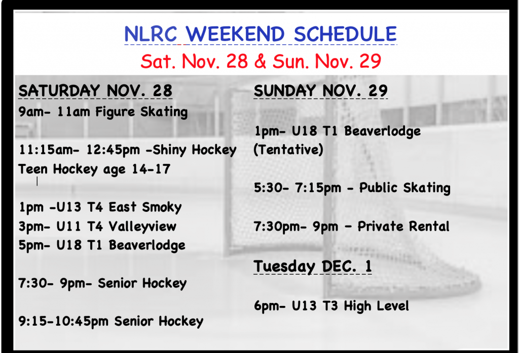 NLRC WEEKEND SCHED ICE Nov. 28-29, 2020