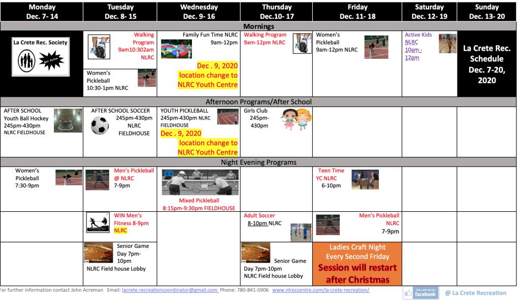 9. SCHEDULE Dec. 7-20 FALL 2020